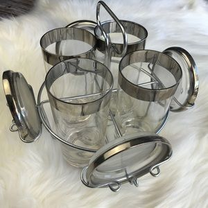 Vintage Mid Century Silver Rim Glass Set and Caddy